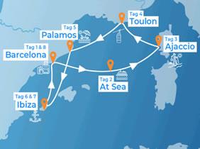 Open Sea European Gay Cruise 2018 Map