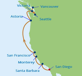 Pacific coast gay group cruise 2018 on the celebritys infinity pacific coastal gay group cruise map sciox Choice Image